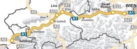 Autobahnkarte A1 Filmgroephetaccent